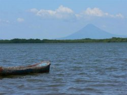 Momotombo Volcano up the river
